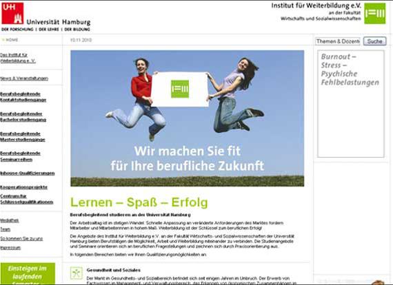 Screenshot, wiso.uni-hamburg.de, Lernen – Spaß – Erfolg