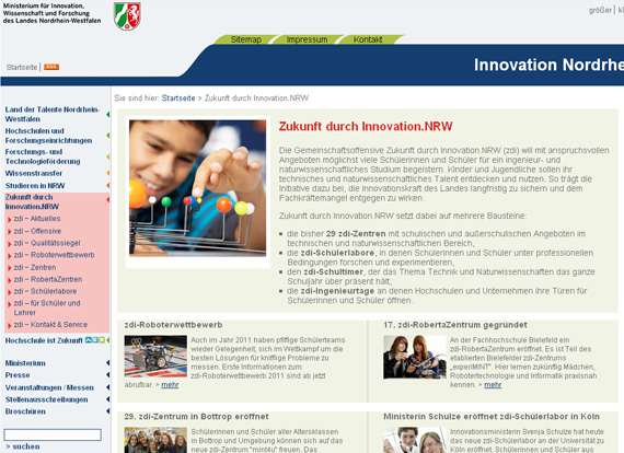 Screenshot Innovationen ZDI NRW