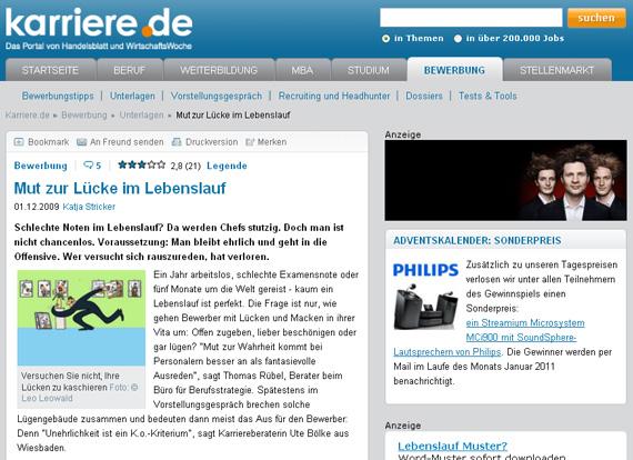 karriere.de Screenshot Lücken im Lebenslauf