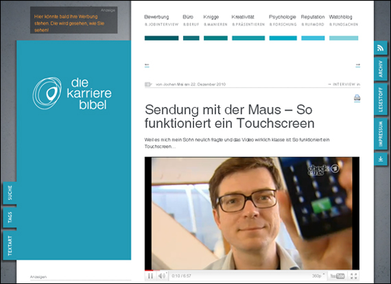 Screenshot karrierebibel, Sendung mit der Maus
