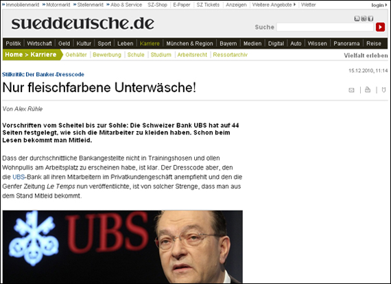 Screenshot sueddeutsche, Nur fleischfarbene Unterwäsche!