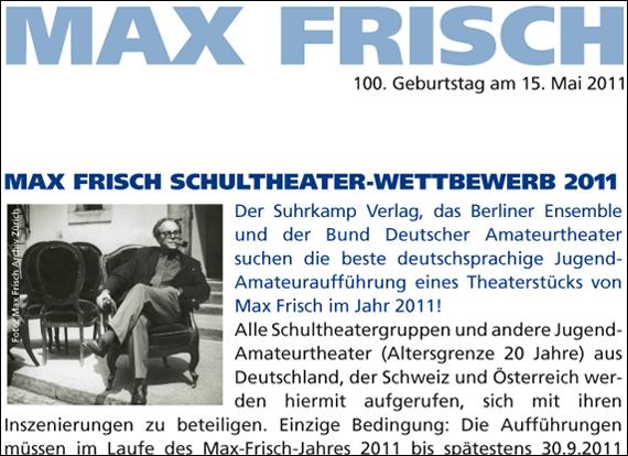 Screenshot suhrkamp, MAX FRISCH
