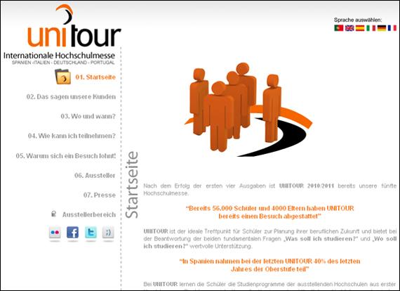 Screenshot Unitour, Treffpunkt für Schüler