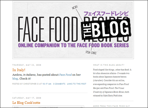 Screenshot facefoodbento, Blog
