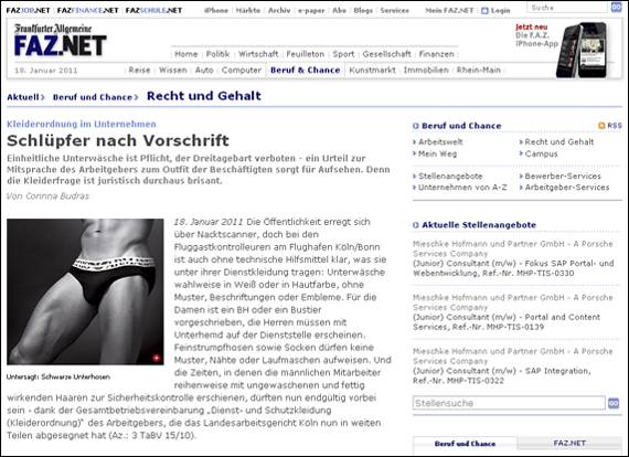 Screenshot FAZ, Schlüpfer