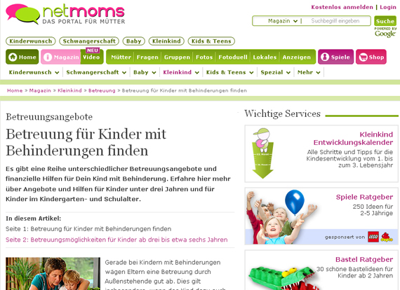 Screenshot Netmoms Behinderungen