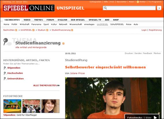 Screenshot Spiegel, Selbstbewerber