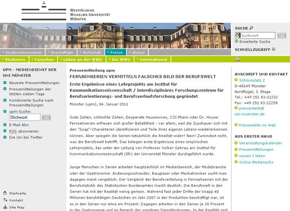 Uni Münster PM Fernsehen Berufsbilder