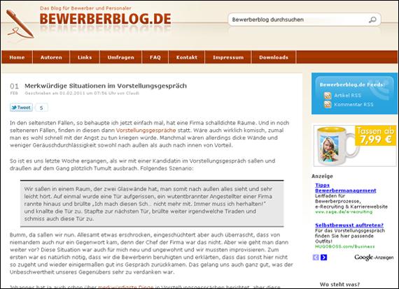 Screenshot bewerberblog, Merkwürdige Situationen