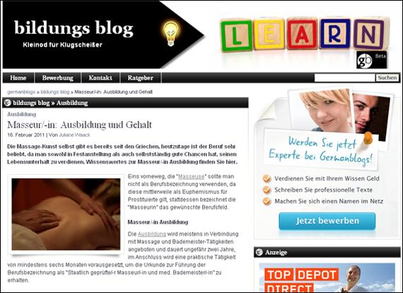 Screenshot bildung-germanblogs, Masseur/-in: Ausbildung und Gehalt