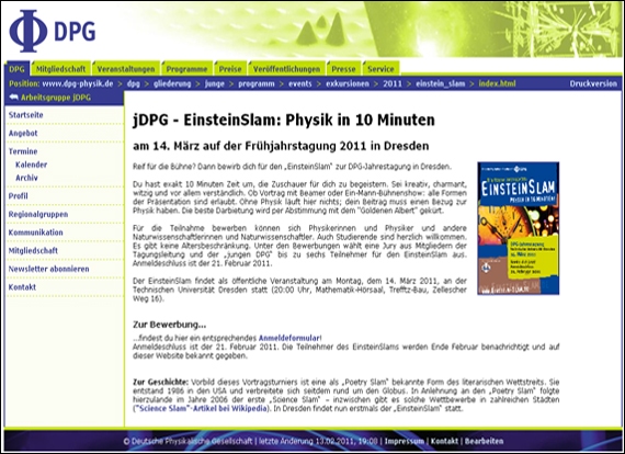 Screenshot dpg-physik, jDPG - EinsteinSlam: Physik in 10 Minuten