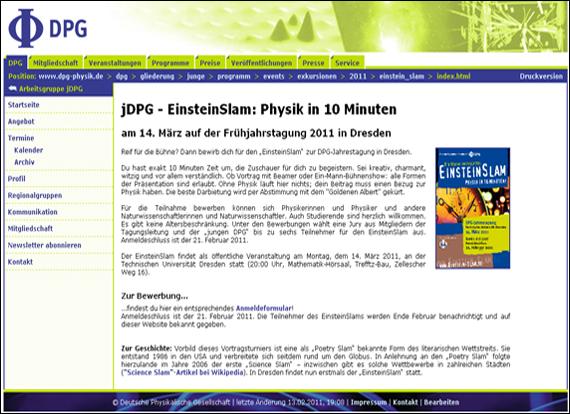 Screenshot dpg-physik, jDPG - EinsteinSlam: Physik in 10 Minuten