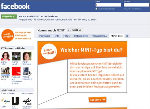 Screenshot Facebook, mach MINT