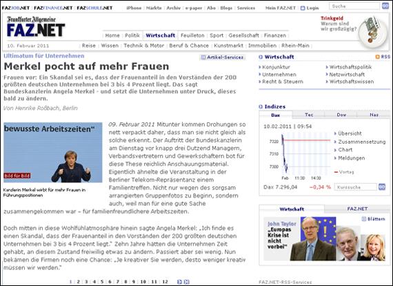 Screenshot FAZ, Merkel pocht auf mehr Frauen