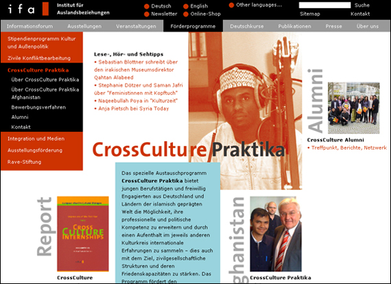 Screenshot IFA, CrossCulture Praktika