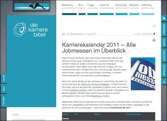 Screenshot karrierebibel Karrierekalender 2011