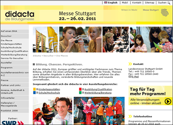 Screenshot messe-stuttgart, Bildung. Chancen