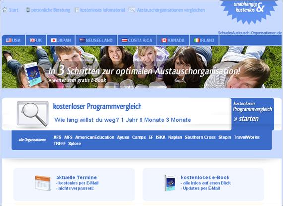 Screenshot schueleraustausch-organisationen, Schüleraustausch USA & mehr!