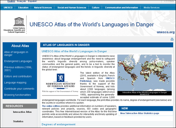 Screenshot Unesco, UNESCO Atlas of the World's Languages in Danger