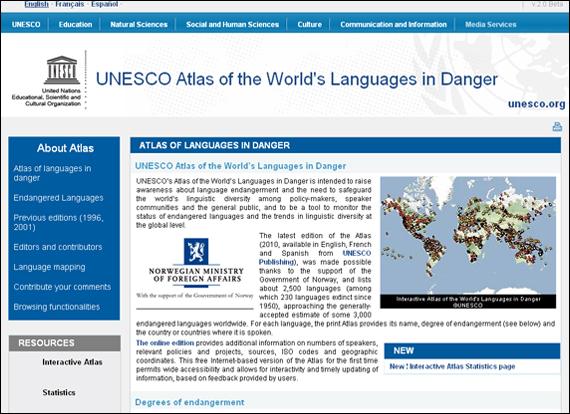 Screenshot Unesco, UNESCO Atlas of the World's Languages in Danger