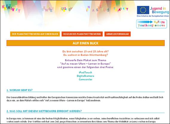 Screenshot youthonthemove-contest, Auf zu neuen Ufern – Lernen in Europa