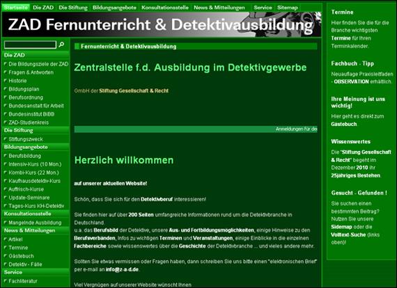 Screenshot z-a-d, Zentralstelle f.d. Ausbildung im Detektivgewerbe