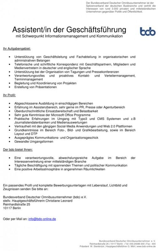 Jobangebot, Karriere, Assistent, Assistentin, Kommunikation ...